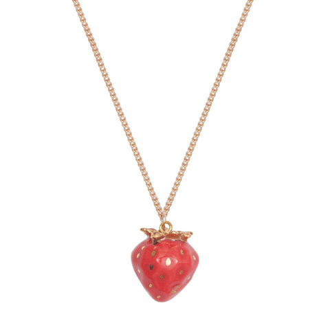 Tiny Gold Leaf Strawberry Necklace