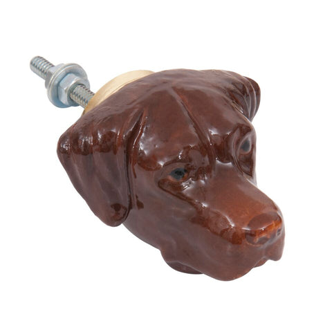Chocolate Labrador Doorknob