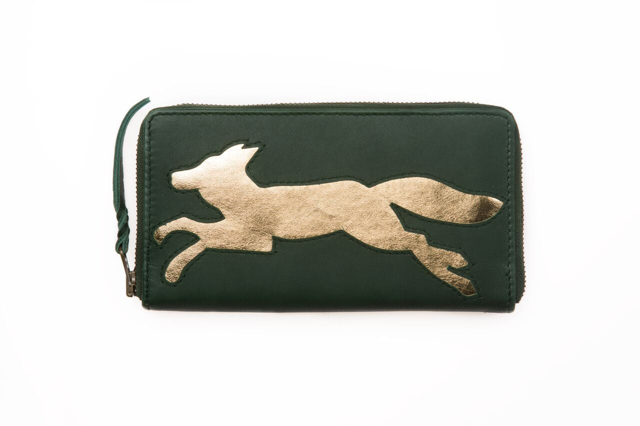 Dark Green Leather Fox Cut Out Purse