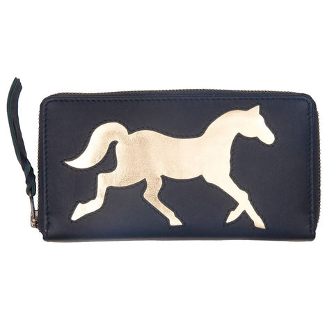 Navy Leather Horse Cut Out Purse
