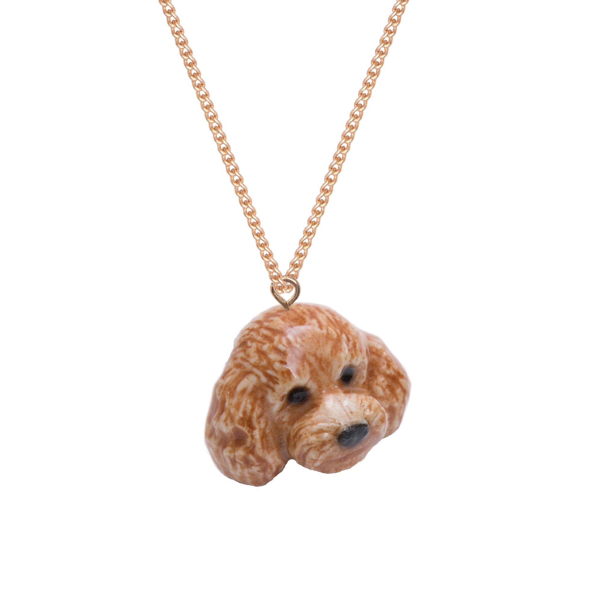 Apricot Poodle Head Necklace