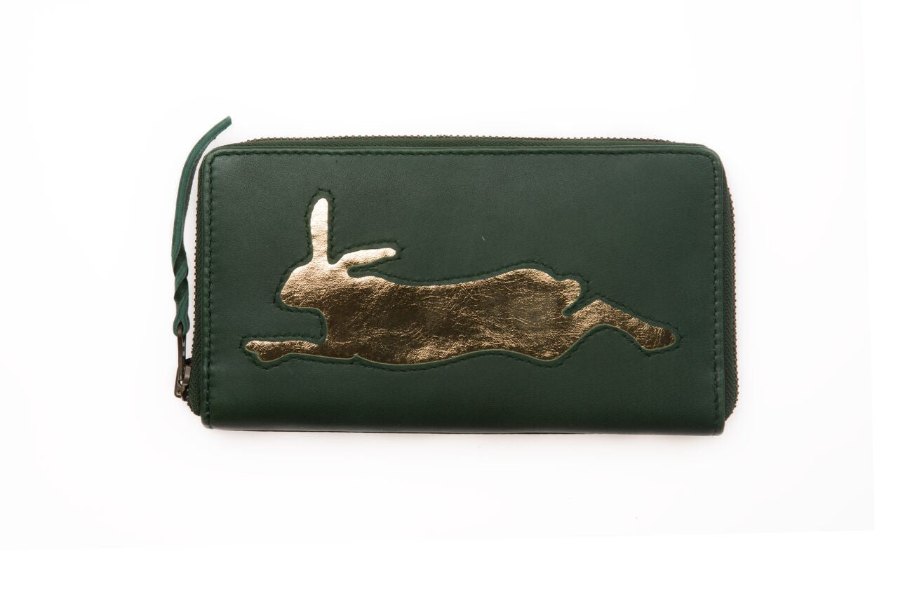 Dark Green Leather Hare Cut Out Purse