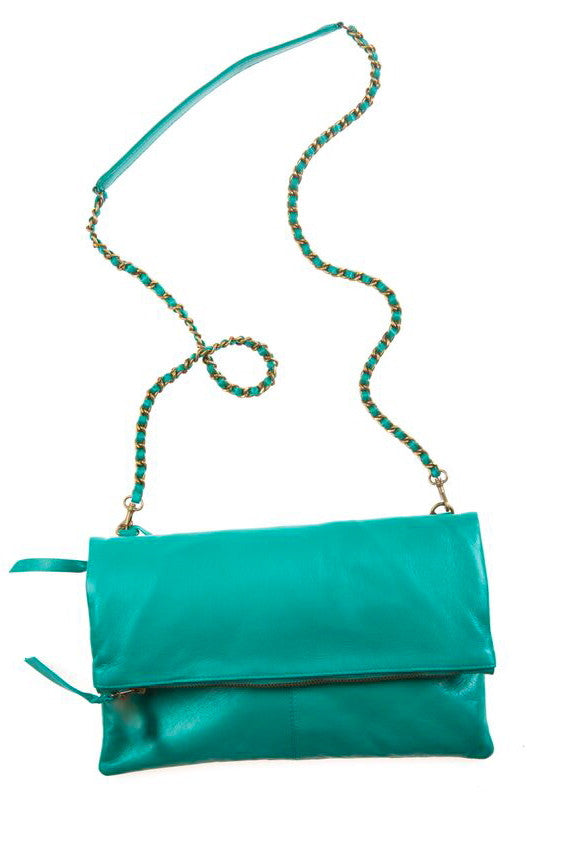 Italian Leather Jade Foldover Bag