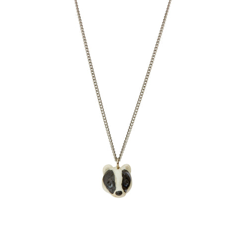 Tiny Badger Head Necklace
