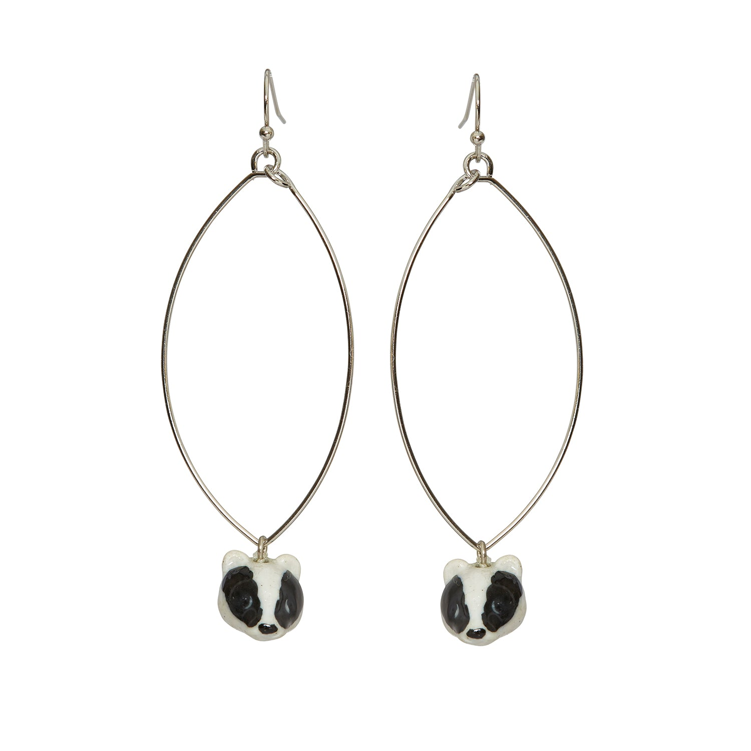 Oval Drop Badger Head Earrings