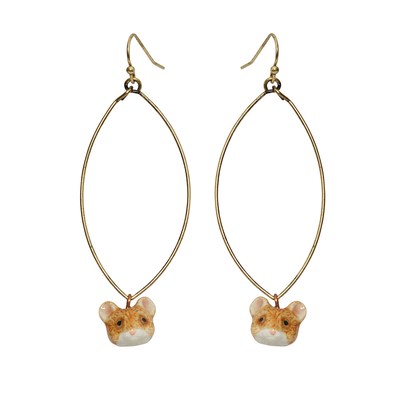 Oval Drop Ballerina Mouse Head Earrings