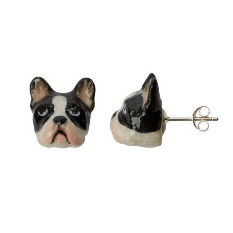 Black & White French Bulldog Stud Earrings