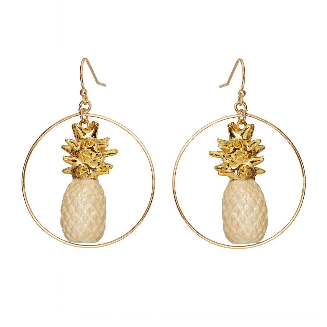 Beige & Gold Pineapple Round Drop Earrings