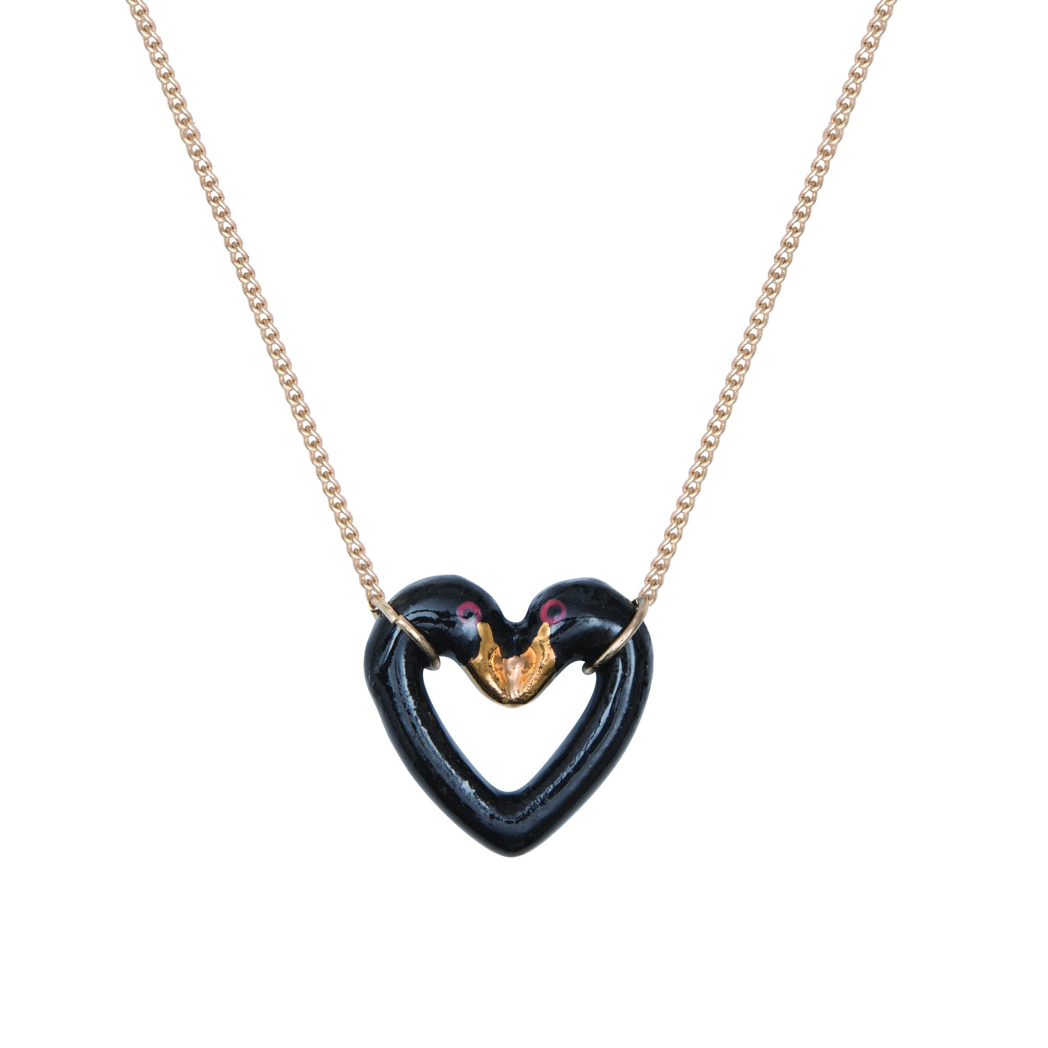 Black and Gold Swan Heart Necklace