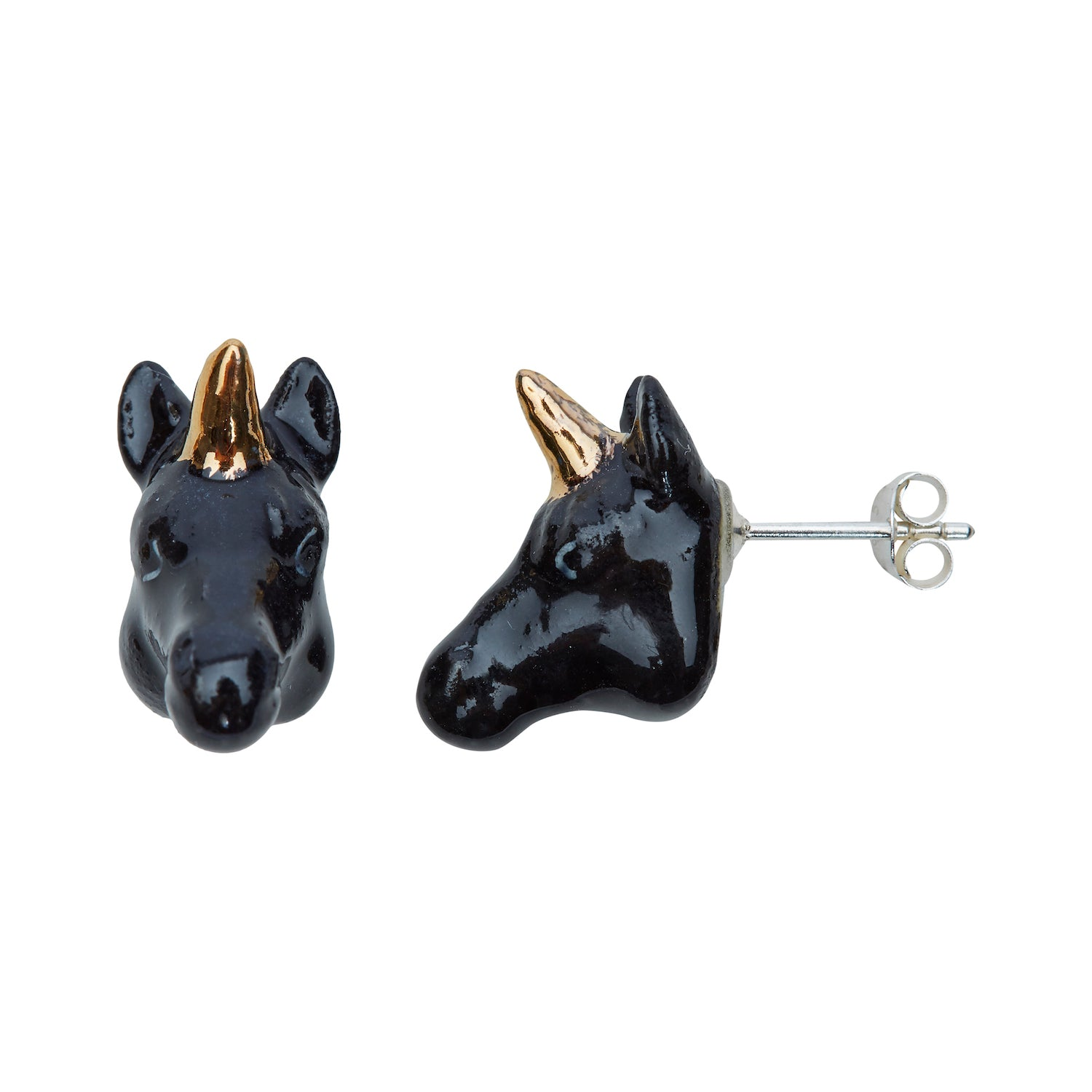 Black & Gold Unicorn Head Studs