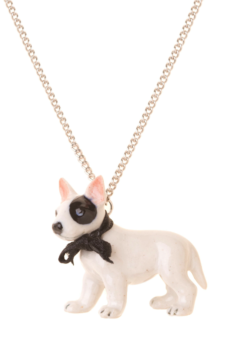 Bull Terrier Necklace with Black Bow