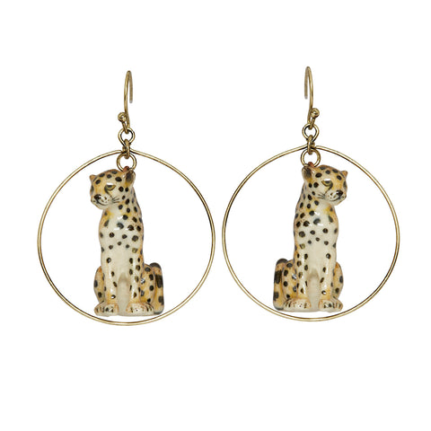 Sitting Cheetah Round Drop Earrings