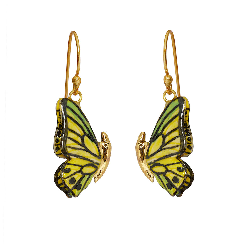 Closed Wing Butterfly Hook Drop Earrings