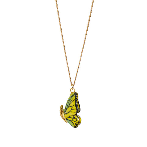 Closed Wing Butterfly Necklace With Gold Detailing