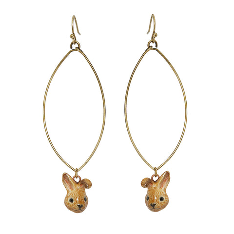Oval Drop Cute Brown Bunny Earrings