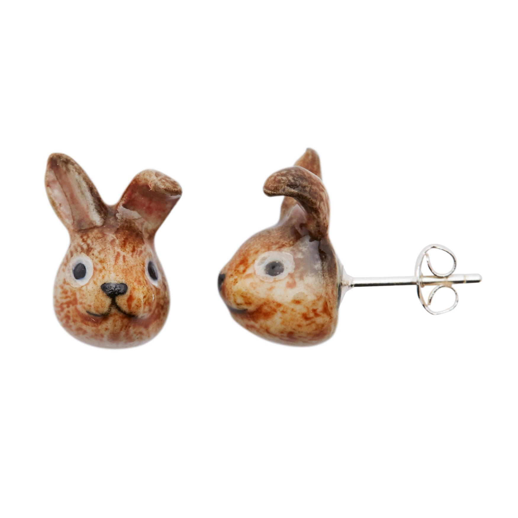 Cute Brown Bunny Head Stud Earrings