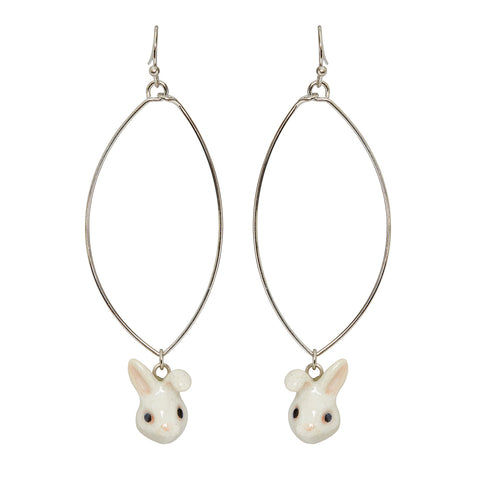Oval Drop Cute White Bunny Earrings