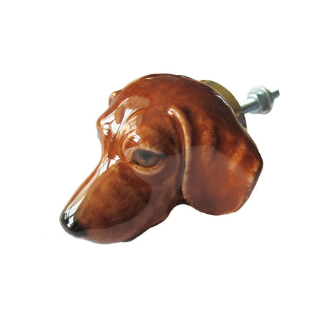 Brown Dachshund Head Doorknob
