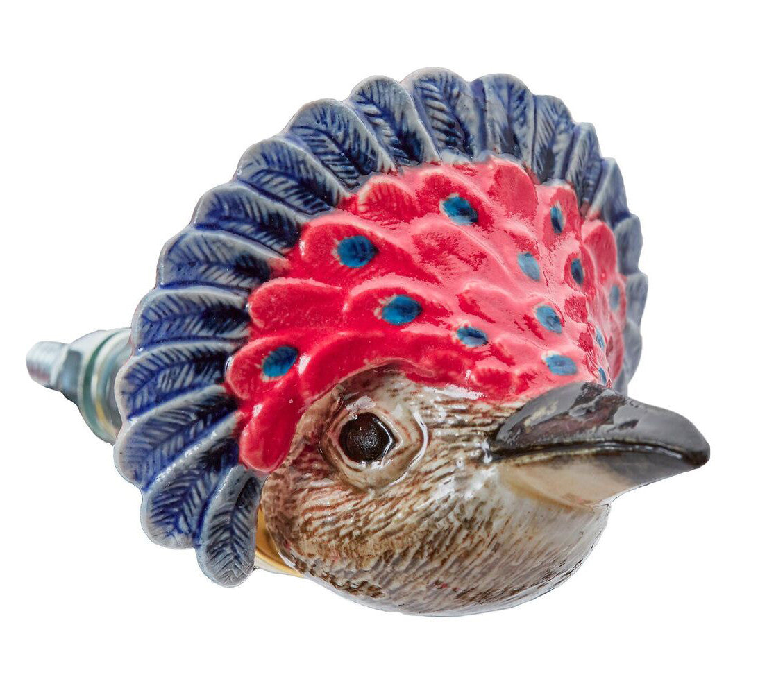 Red Carnival Bird Doorknob