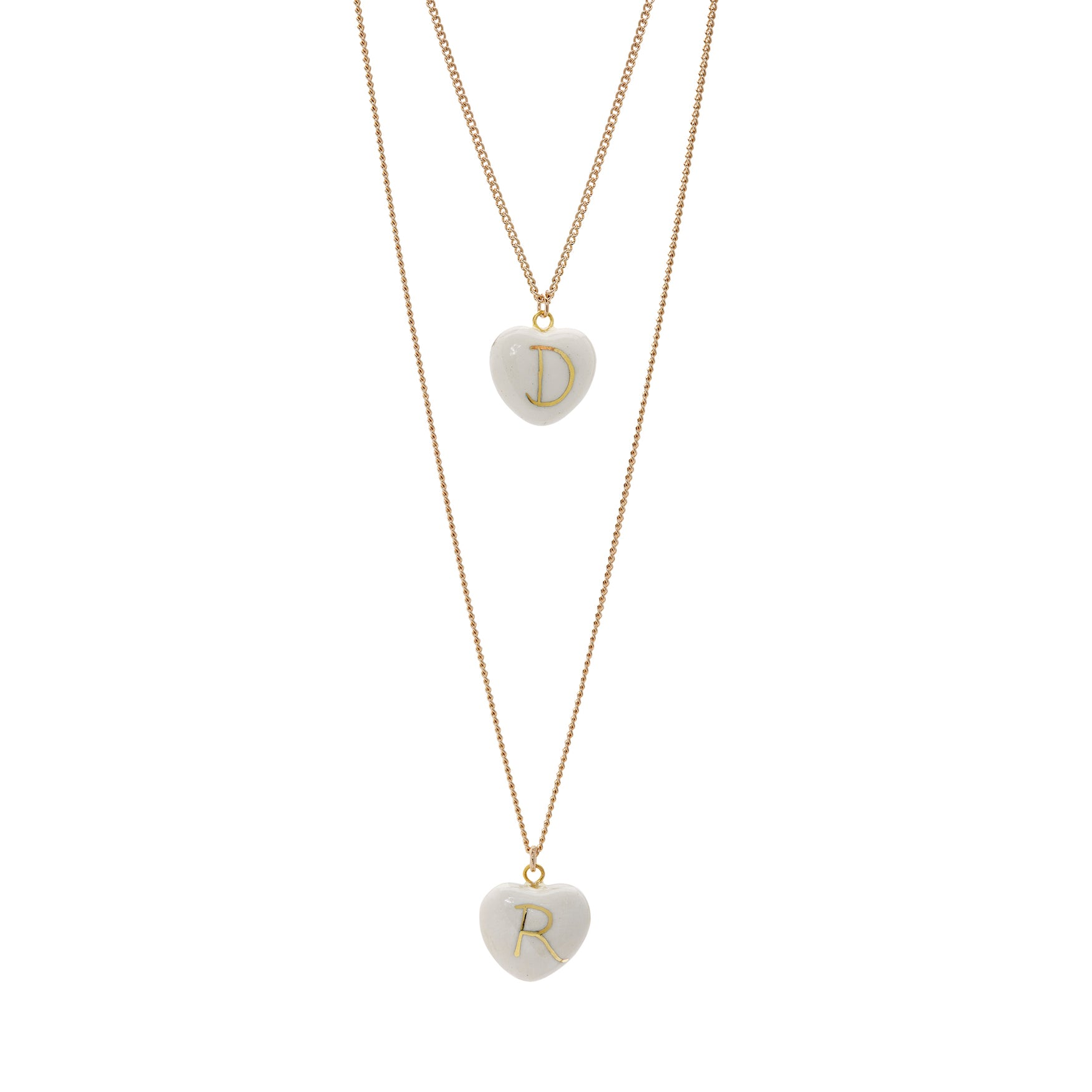 Double Initial Heart Necklace