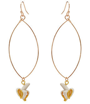 Oval Drop Banana Earrings