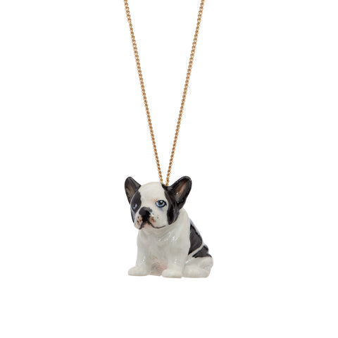 Sitting Black and White Frenchie Necklace