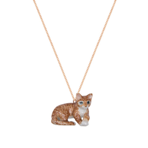 Lying Ginger Cat Necklace