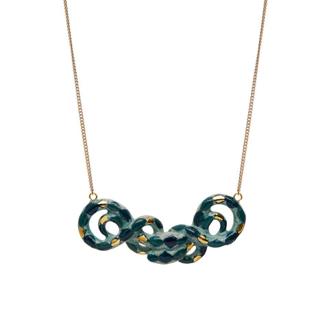 Double Green Snake Necklace