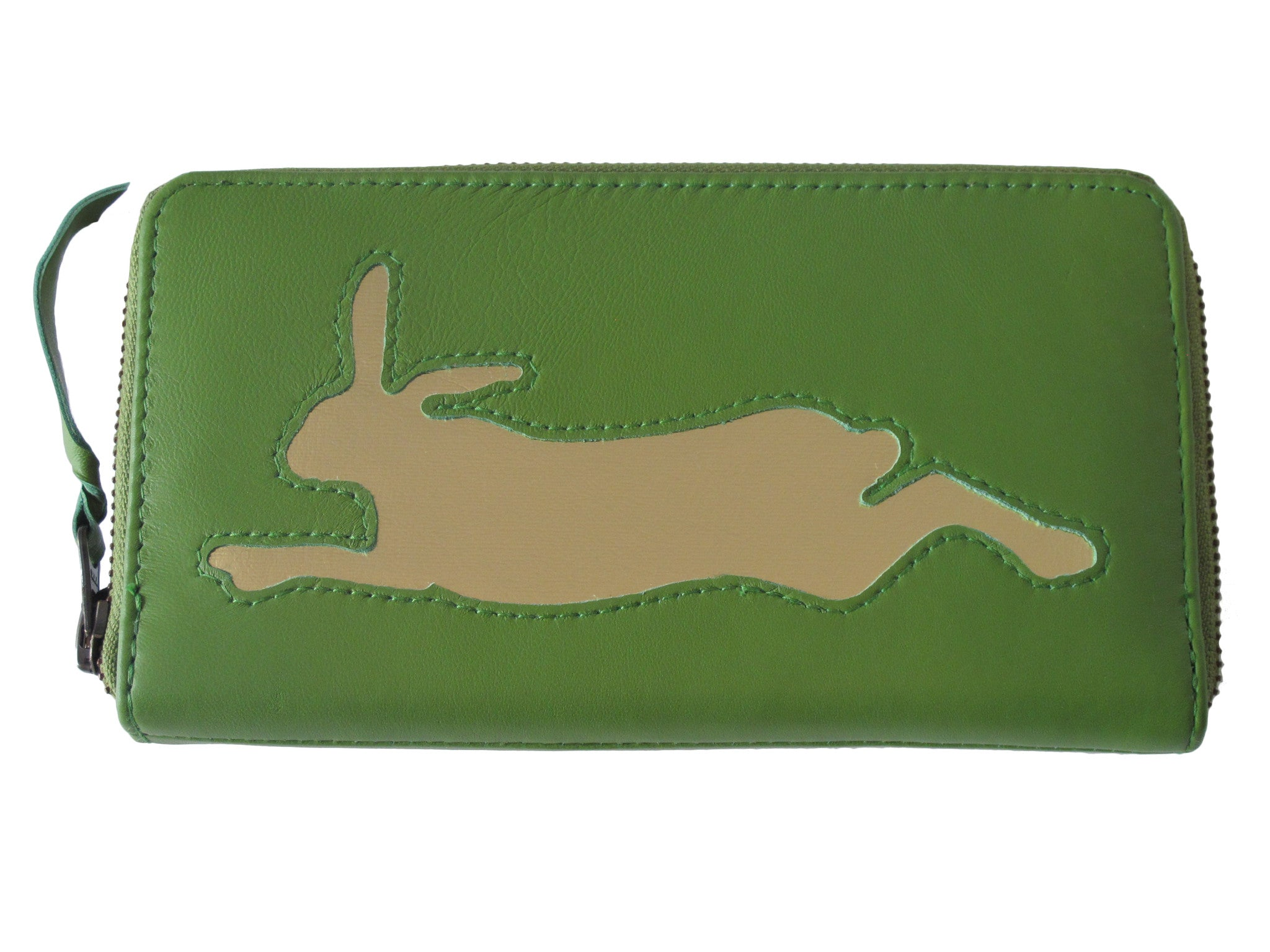 Apple Green Leather Hare Cut Out Purse