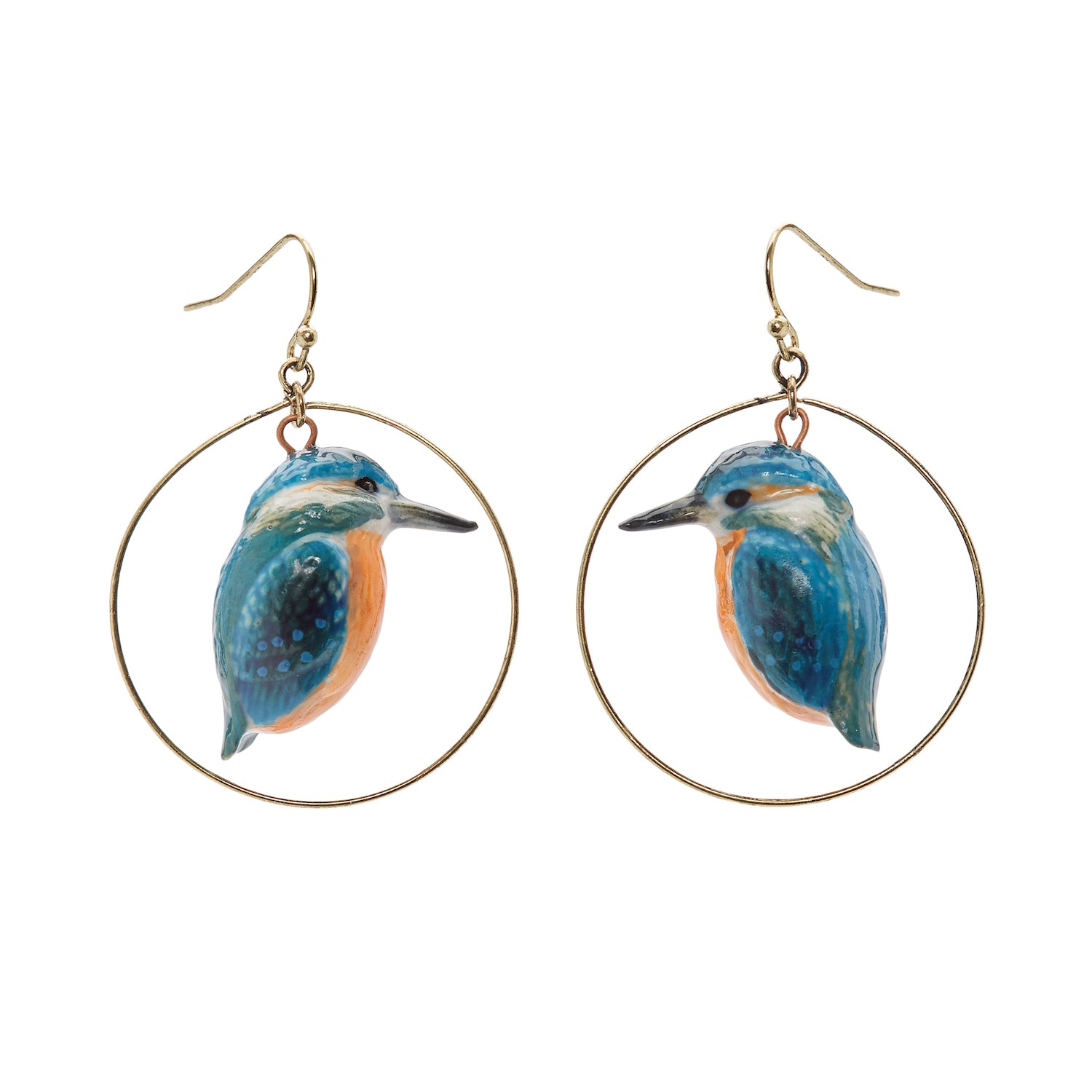 Kingfisher Hoop Drop Earrings