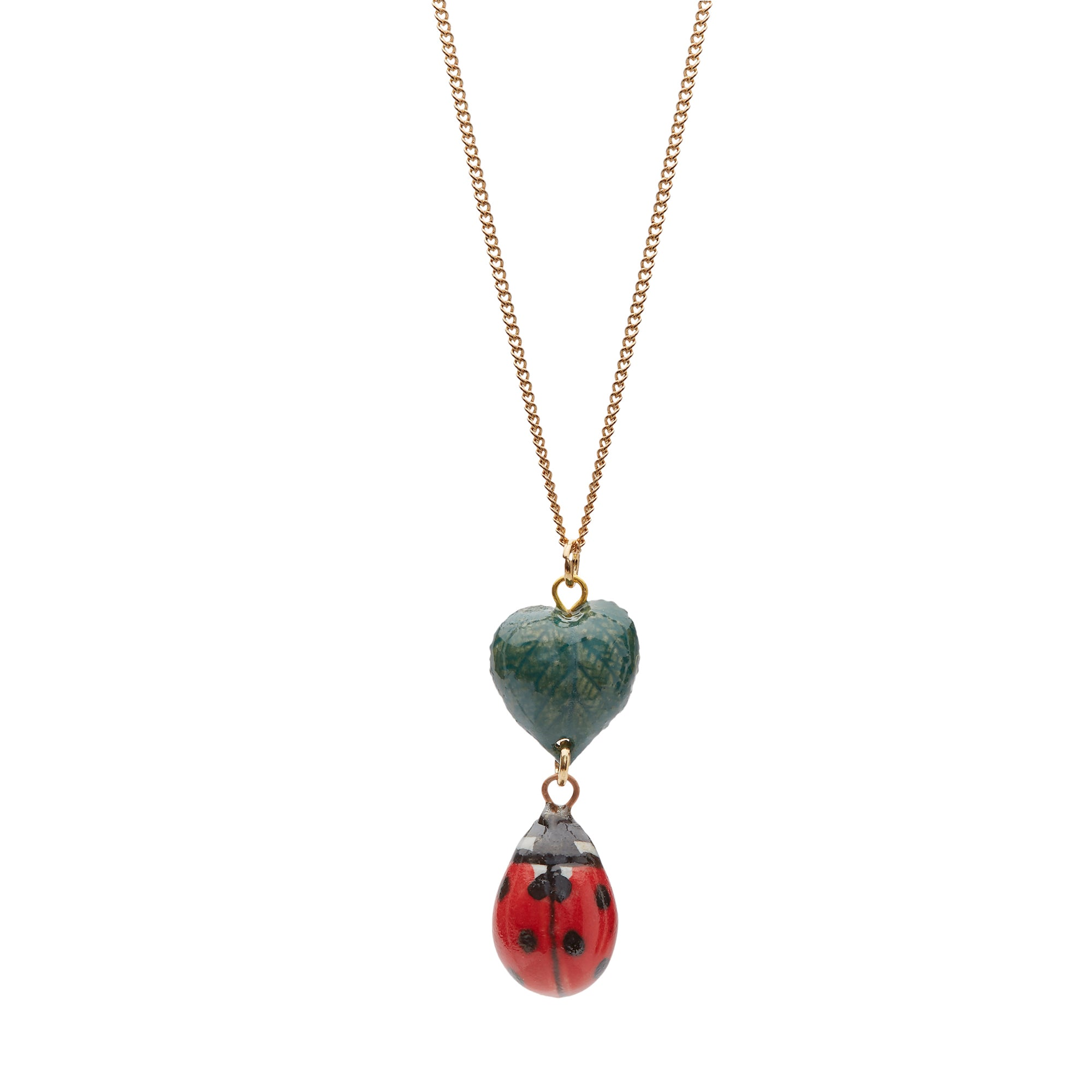 Ladybird and Leaf Necklace