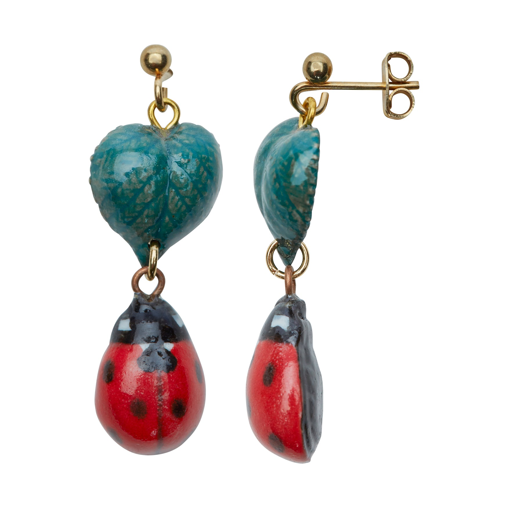 Ladybird and Leaf Drop Earrings