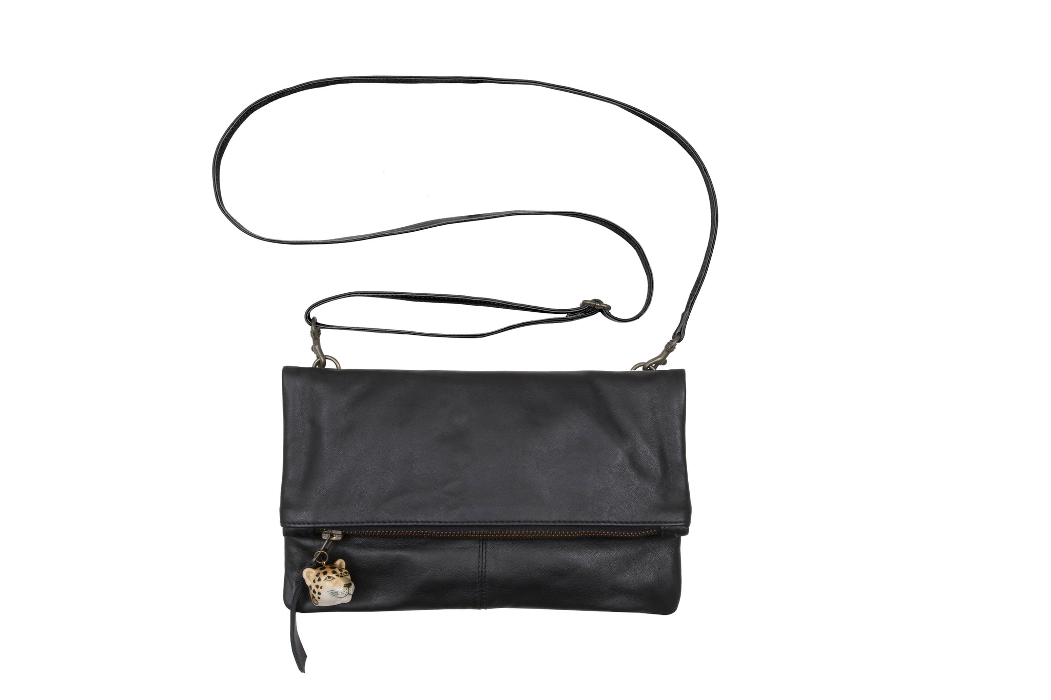 Small Italian Soft Black Leather Foldover Bag with Leopard Head Charm