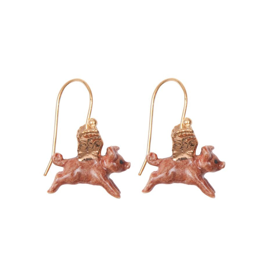 Tiny Flying Pig Earrings with Gold Wings