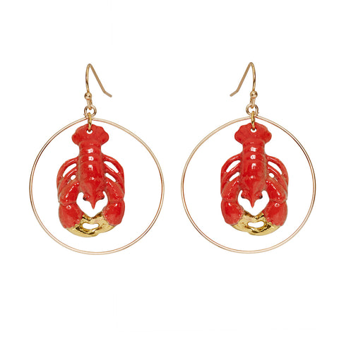 Small Lobster Round Drop Earrings