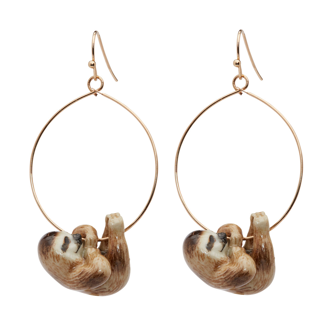 Hanging Sloth Hoop Drop Earrings