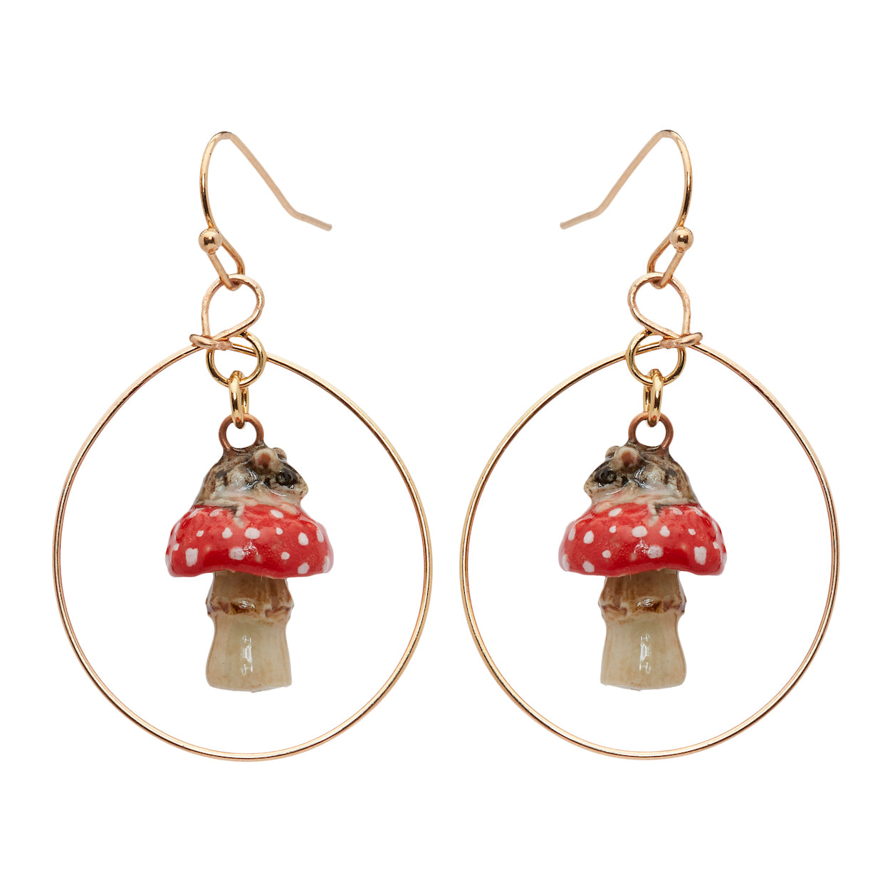 Mouse on Toadstool Hoop Drop Earrings
