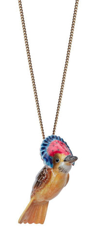 Red Carnival Bird Necklace