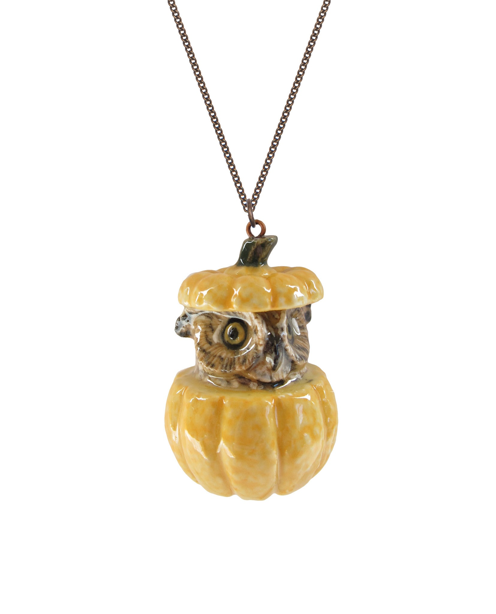Owl and Pumpkin Necklace