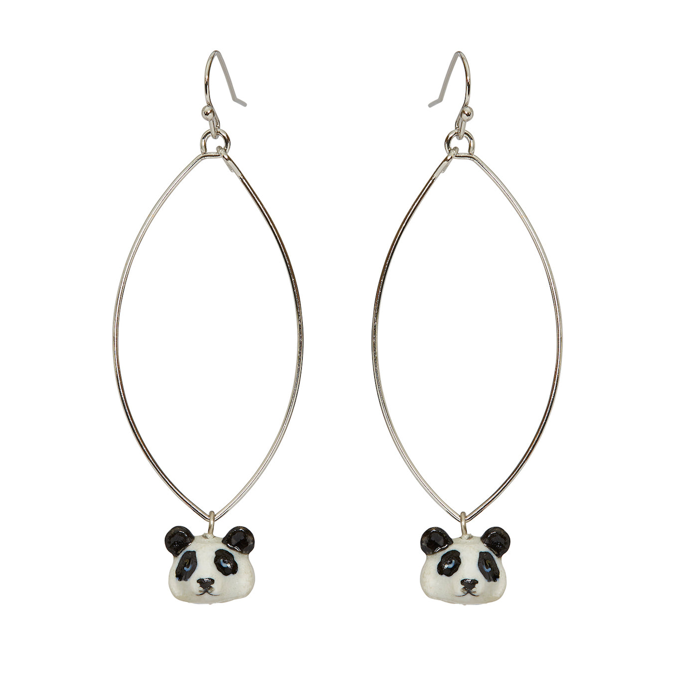 Oval Drop Tiny Panda Head Earrings