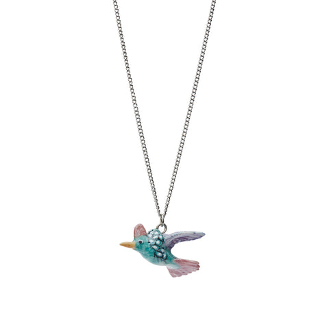 Tiny Pastel Hummingbird Necklace