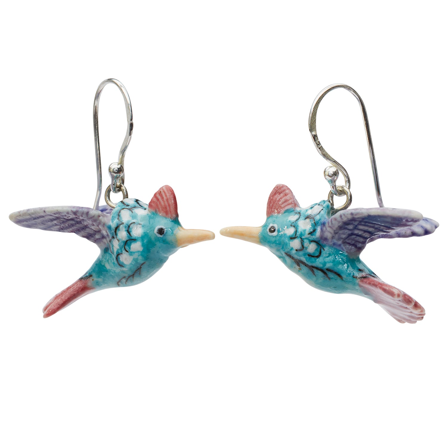 Tiny Pastel Hummingbird Hook Earrings