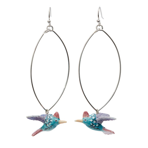 Tiny Pastel Hummingbird Oval Drop Earrings