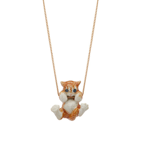 Playful Ginger Kitten Necklace
