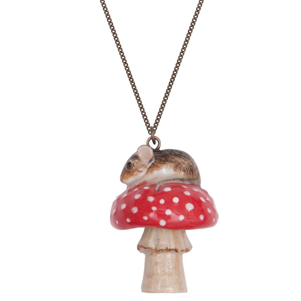 Mouse and Toadstool Necklace