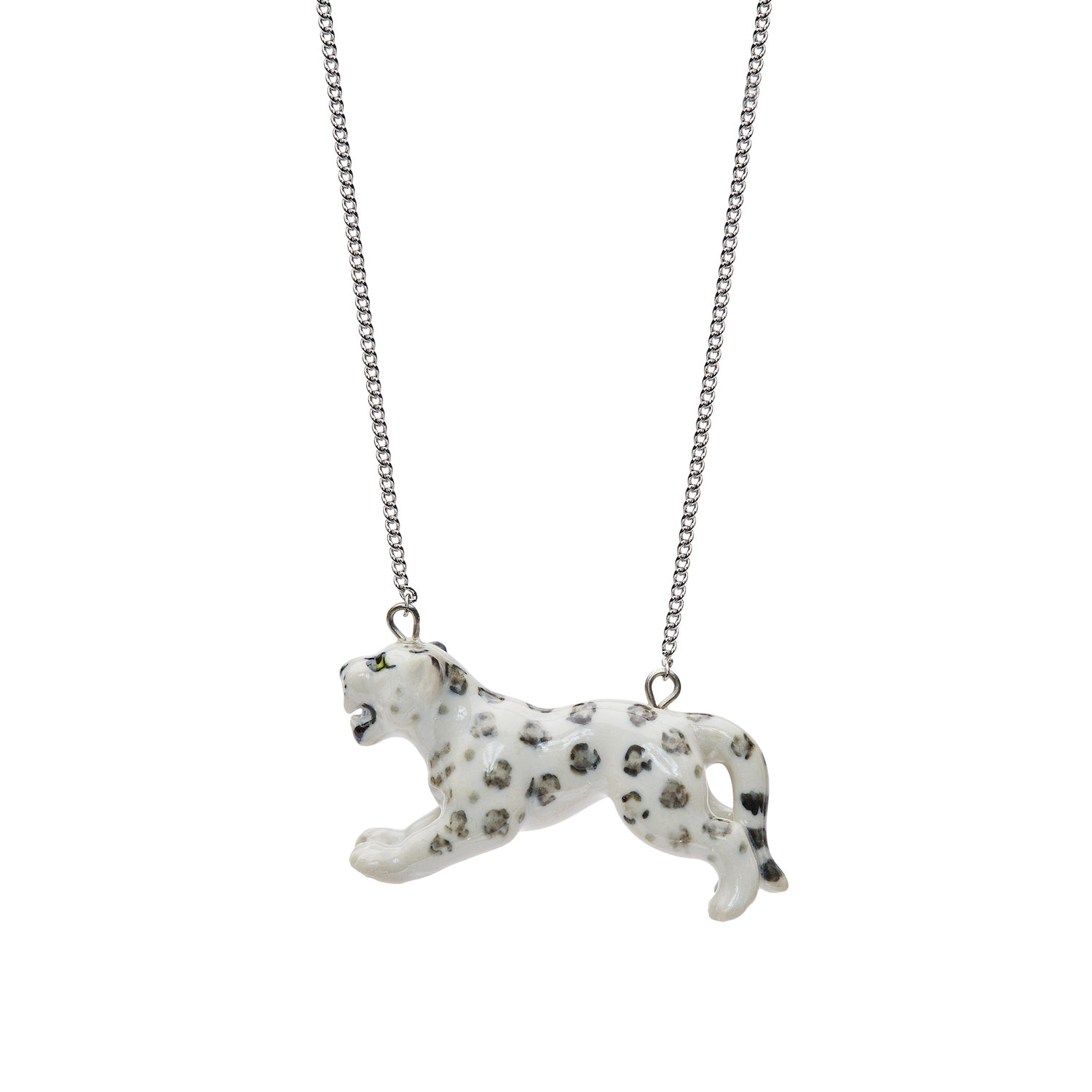 Leaping Snow Leopard Necklace