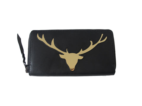 Black Leather Stag Cut Out Purse