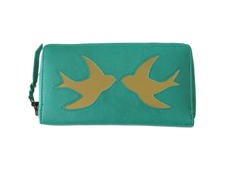 Jade Leather Swallow Cut Out Purse