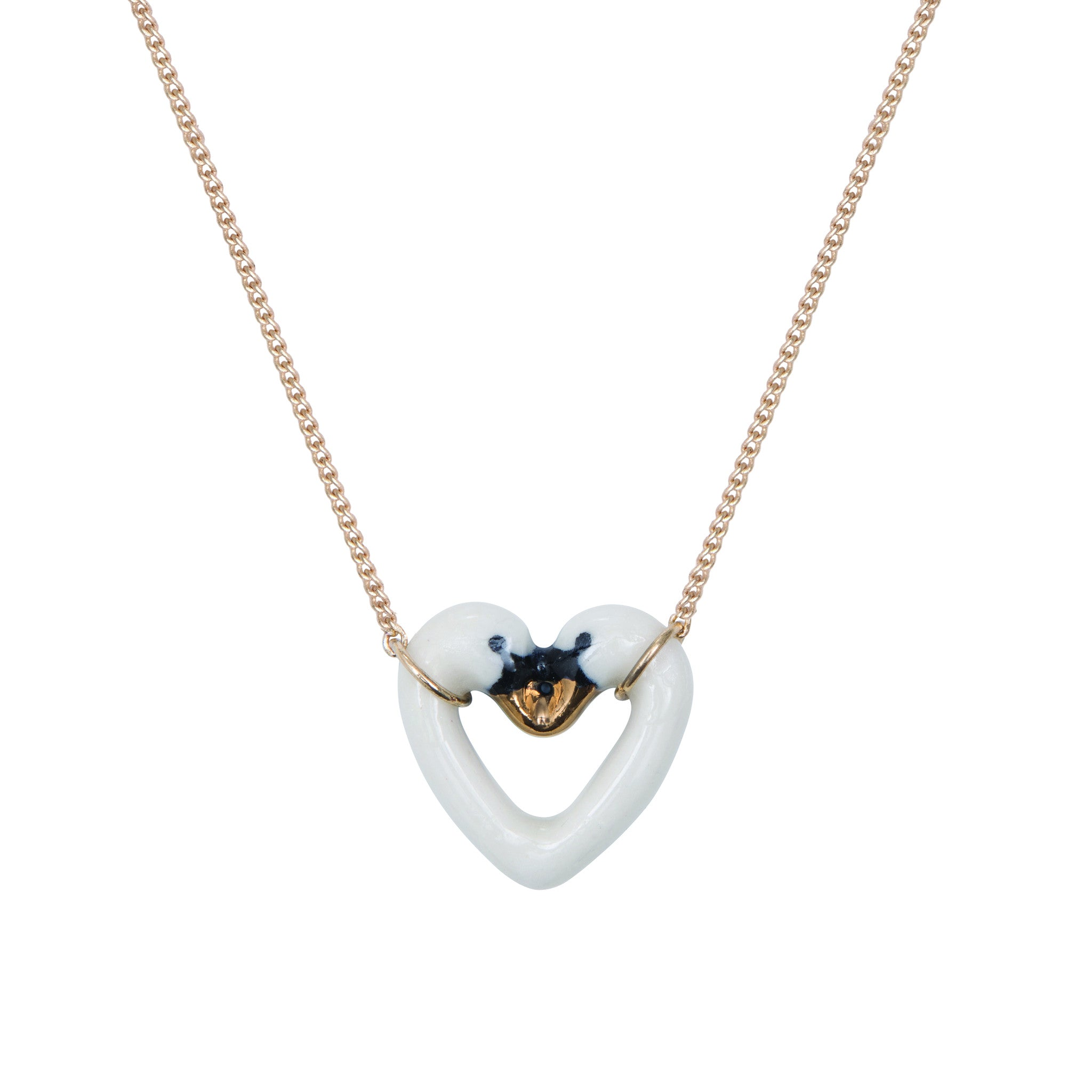 White and Gold Swan Heart Necklace