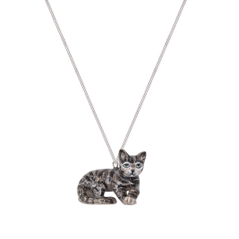 Lying Tabby Cat Necklace